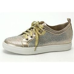 MODELSIS - Rhinestone-Detail Lace-Up Sneakers