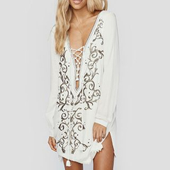 Sunset Hours - Embroidered Lace-Up Cover-Up Dress