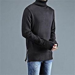 THE COVER - Turtle-Neck Zip-Side Sweater