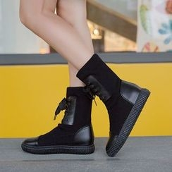 QQ Trend - Color Panel Lace Up Boots