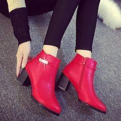 Wello - Rhinestone Buckle Block Heel Ankle Boots