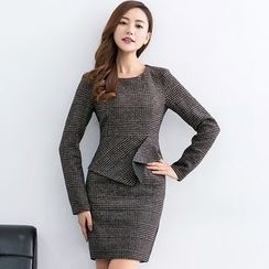 Eleganza - Long-Sleeve Mock Two Piece Plaid Dress