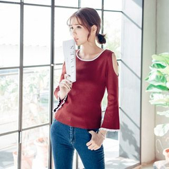 Tokyo Fashion - Bell-Sleeve Cutout-Shoulder Top