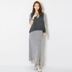 FASHION DIVA - Crew-Neck Mélange Maxi T-Shirt Dress