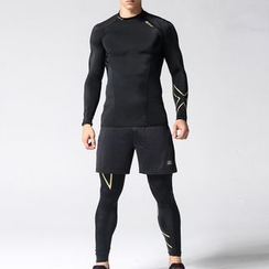 MaxBlue - Sport Set: Long-Sleeve T-Shirt + Leggings + Shorts