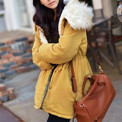 CLICK - Faux Fur Trim Hooded Jacket