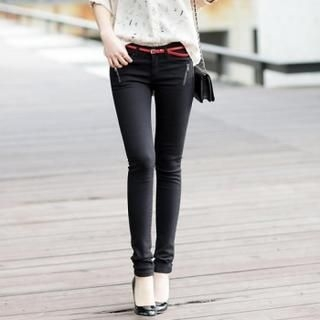 Jcstyle - Zipper Accent Skinny Pants