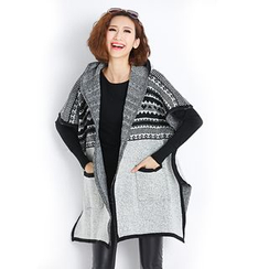 Yalaura - Patterned Panel Hooded Knit Jacket