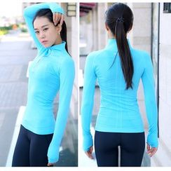 Girasol - Mock Neck Zip Workout Top