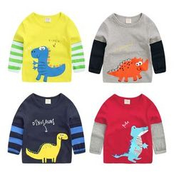 lalalove - Kids Dinosaur Print Long-Sleeve T-Shirt