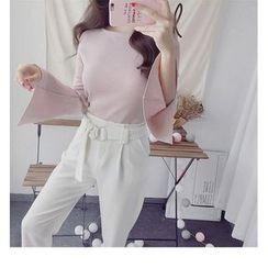 Octavia - Plain Long Bell Sleeve Knit Top