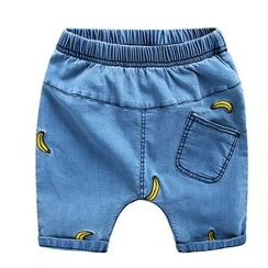lalalove - Kids Banana Embroidered Denim Shorts
