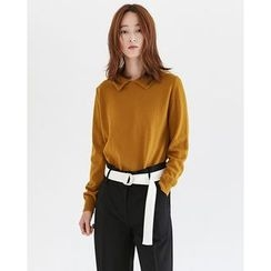 Someday, if - Collared Reversible Wool Knit Top