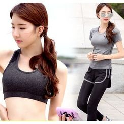REALLION - Set: Short-Sleeve Sport T-Shirt + Bra Top + Legging Inset Shorts