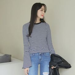 Envy Look - Bell-Sleeve Striped T-Shirt
