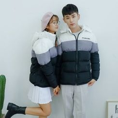 Simpair - Couple Matching Color Panel Hooded Padded Jacket