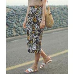 Daily Monday - Linen Blend Patterned Midi Skirt