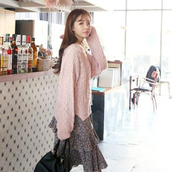DABAGIRL - Drop-Shoulder Cable-Knit Sweater
