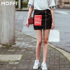 MOFFI - Appliqué Zipped Mini Skirt