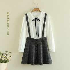 Storyland - Buttoned Check Suspender Skirt