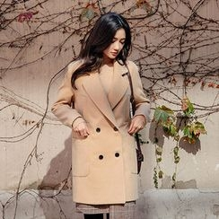 chuu - Notched-Lapel Double-Breasted Coat