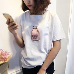 Kojasmine - 短袖贴饰T恤