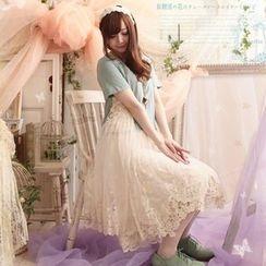 Nectarine - 短袖蕾丝拼接连衣裙