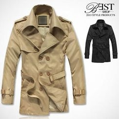 BESTshop - Epaulet-Detail Double-Breasted Trench Coat
