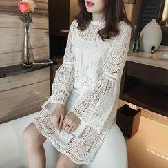 Little V - Set: Scallop Hem Long Sleeve Lace Dress + Slipdress