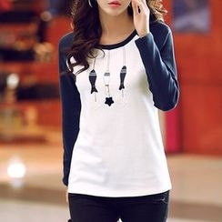Zyote - Print Raglan Long-Sleeve T-Shirt