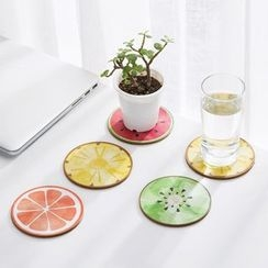 Home Simply - Set of 4: Fruit-Print Coaster