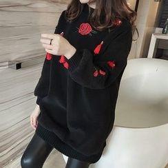 Little V - Tasseled Flower Embroidered Pullover Dress