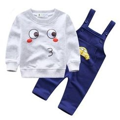 Endymion - Kids Set: Printed Pullover + Car Print Pinafore Jumpsuit