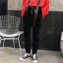AMELA - 抽绳植毛绒裤