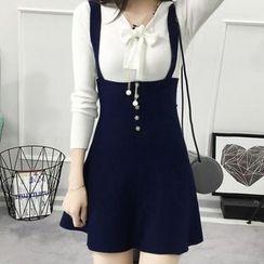 Cottony - High Waist A-Line Suspender Skirt