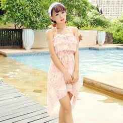 Rachel Swimwear - 套裝: 印花皺摺邊比基尼泳衣上衣 + 泳裝短裙 + 罩衫
