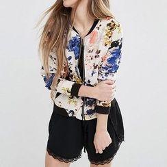 Richcoco - Floral Print Baseball Jacket