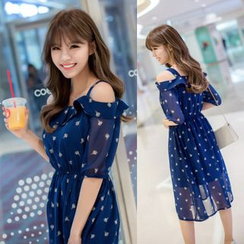 Dowisi - Cutout Shoulder Printed Chiffon Dress