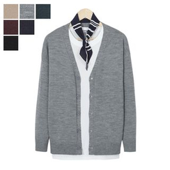 DANGOON - V-Neck Buttoned Colored Cardigan