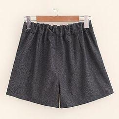 Mocha - Cat Embroidered Shorts