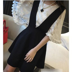 Dowisi - Set: Elbow-Sleeve Lace Top + A-Line Jumper Dress
