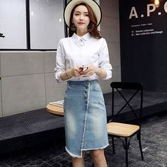 Romantica - Long-Sleeve Shirt / Denim Skirt