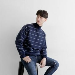 Seoul Homme - Mock-Neck Striped Top