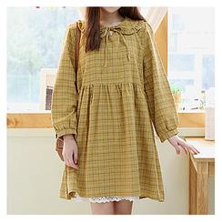 Sechuna - Peterpan-Collar Frill-Trim Plaid Dress