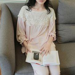 Snorie - Lounge Wear Set: 3/4-Sleeve Lace Panel Top + Pants