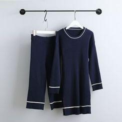 KANAMI - Set: Long Sweater + Wide-Leg Pants