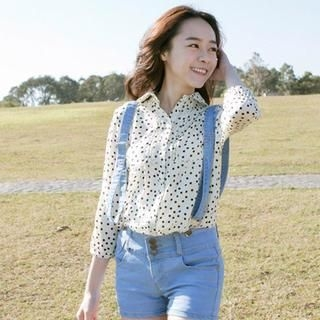 CatWorld - Dotted Pintuck-Front Chiffon Blouse