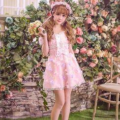 Candy Rain - Short-Sleeve Off Shoulder Flower Chiffon Dress