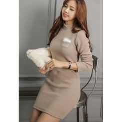 REDOPIN - Mock-Neck Faux-Fur Detail Knit Minidress