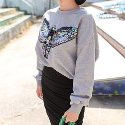 PPGIRL - Round-Neck Sequined Pullover